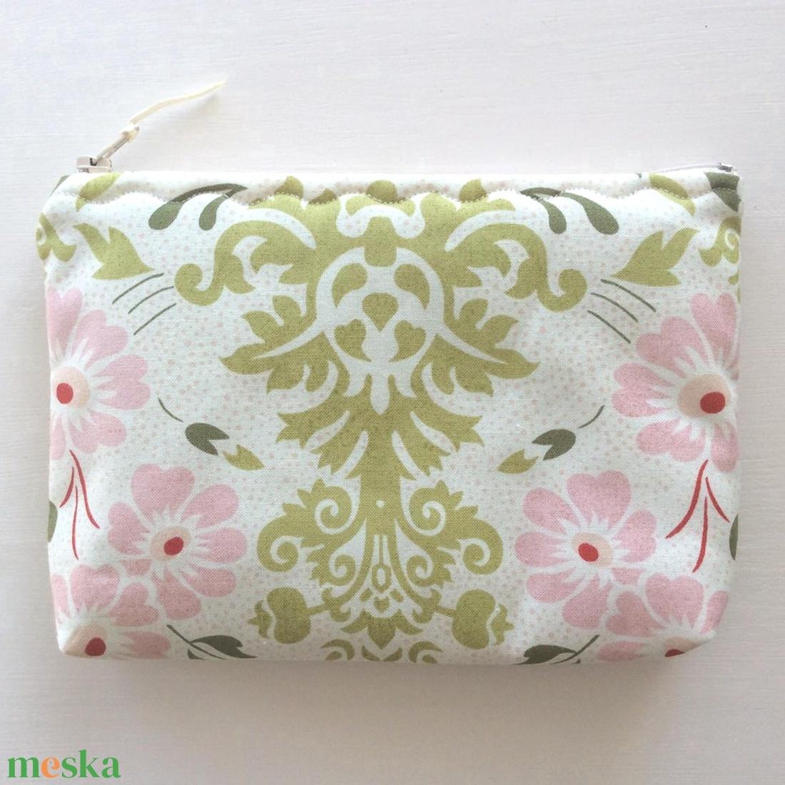Pasztell rózsaszín-zöld virág mintás neszesszer - Artiroka design  - táska & tok - neszesszer - Meska.hu