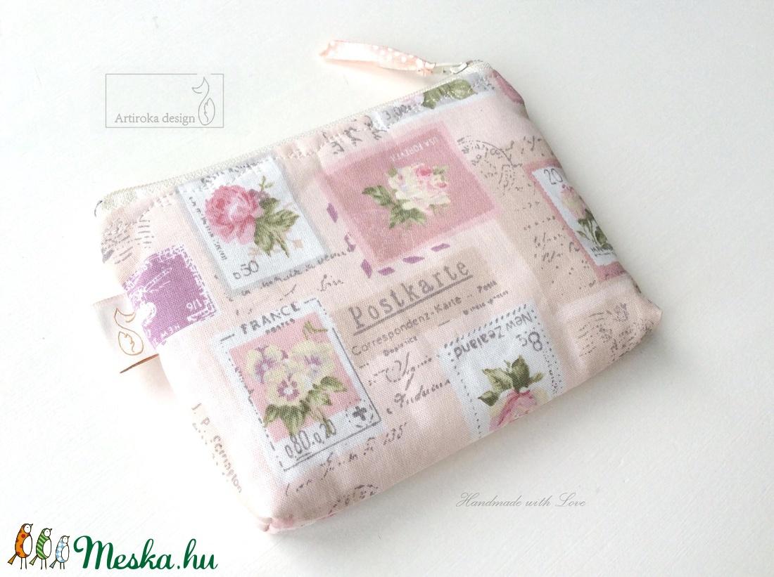 Pasztell rózsás,  irattartó pénztárca púder színben - Artiroka design - táska & tok - pénztárca & más tok - pénztárca - Meska.hu