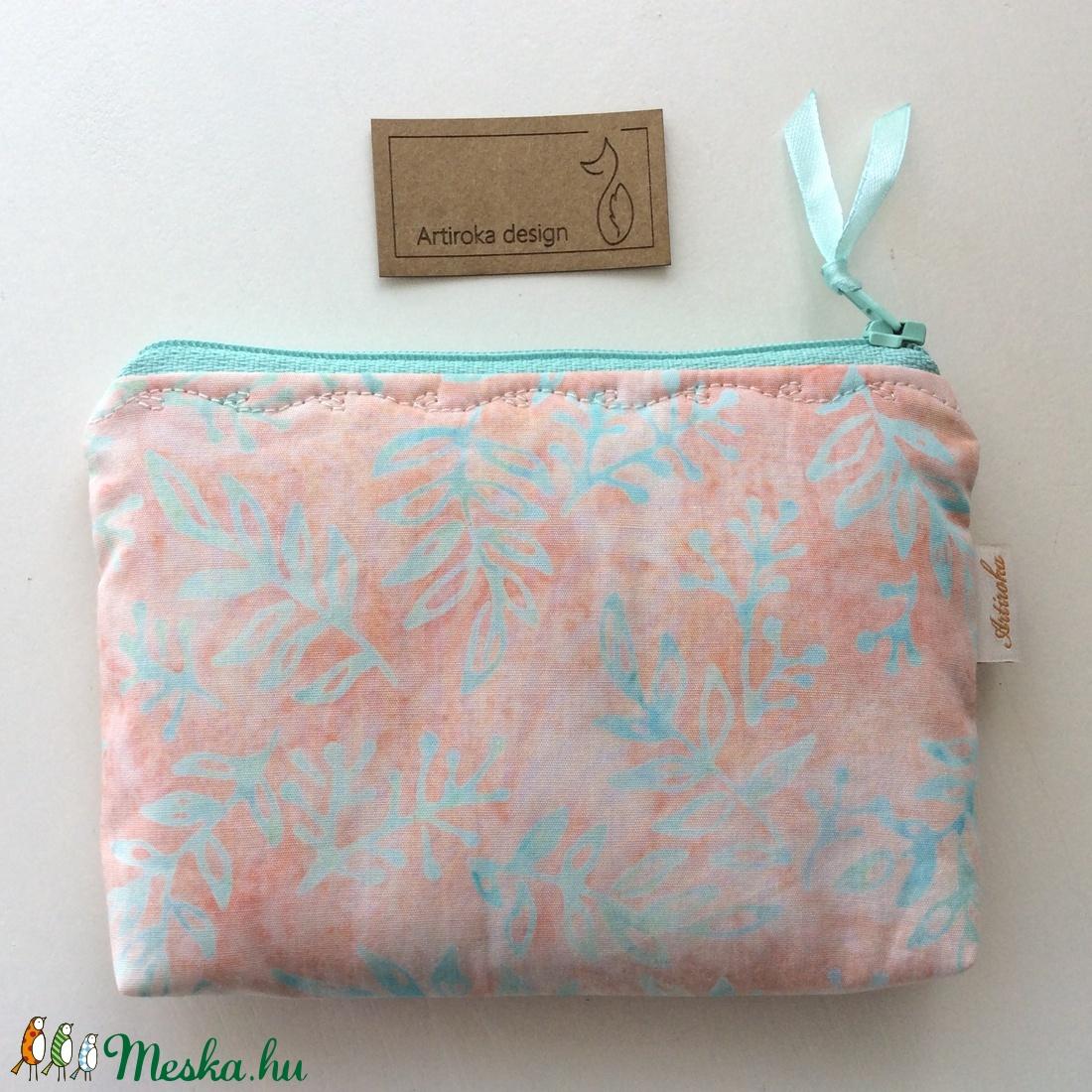 Levél mintás, pasztell rózsaszín és menta szinű, különleges batikolt irattartó pénztárca, neszesszer, kozmetikai táska  -  - Meska.hu