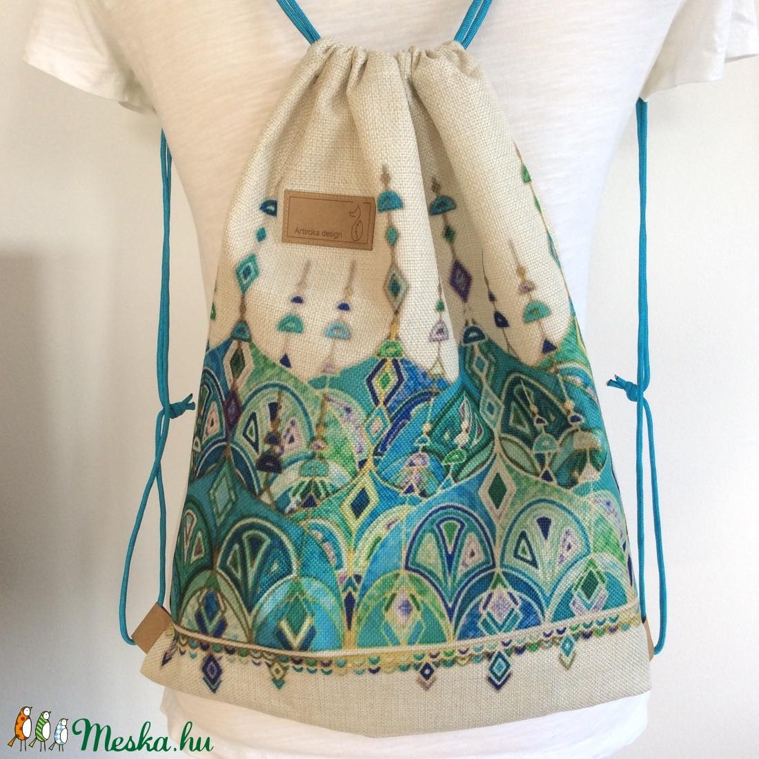 Tavaszi türkiz mintás hátizsák erős lenvászonból - egyedi darab (Mesedoboz)  - Meska.hu c2a08a5098