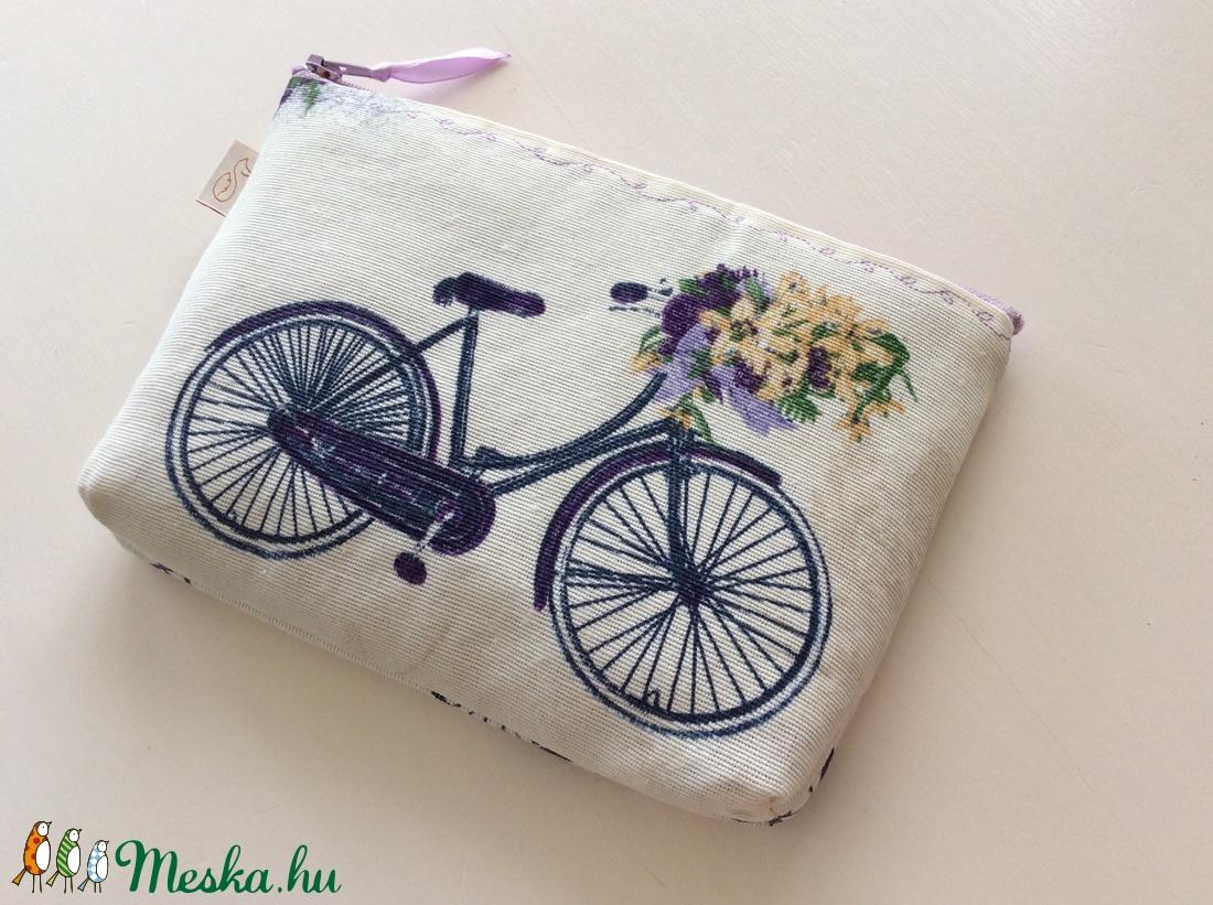Bicikli mintás neszesszer  - Levendula - Artiroka design (Mesedoboz) - Meska.hu