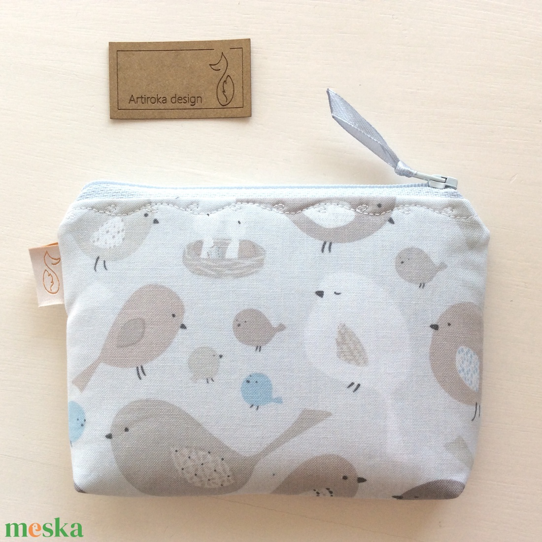 Madárkás, pasztell színű irattartó pénztárca pasztellkék színben  - Artiroka design - táska & tok - pénztárca & más tok - kártyatartó & irattartó - Meska.hu