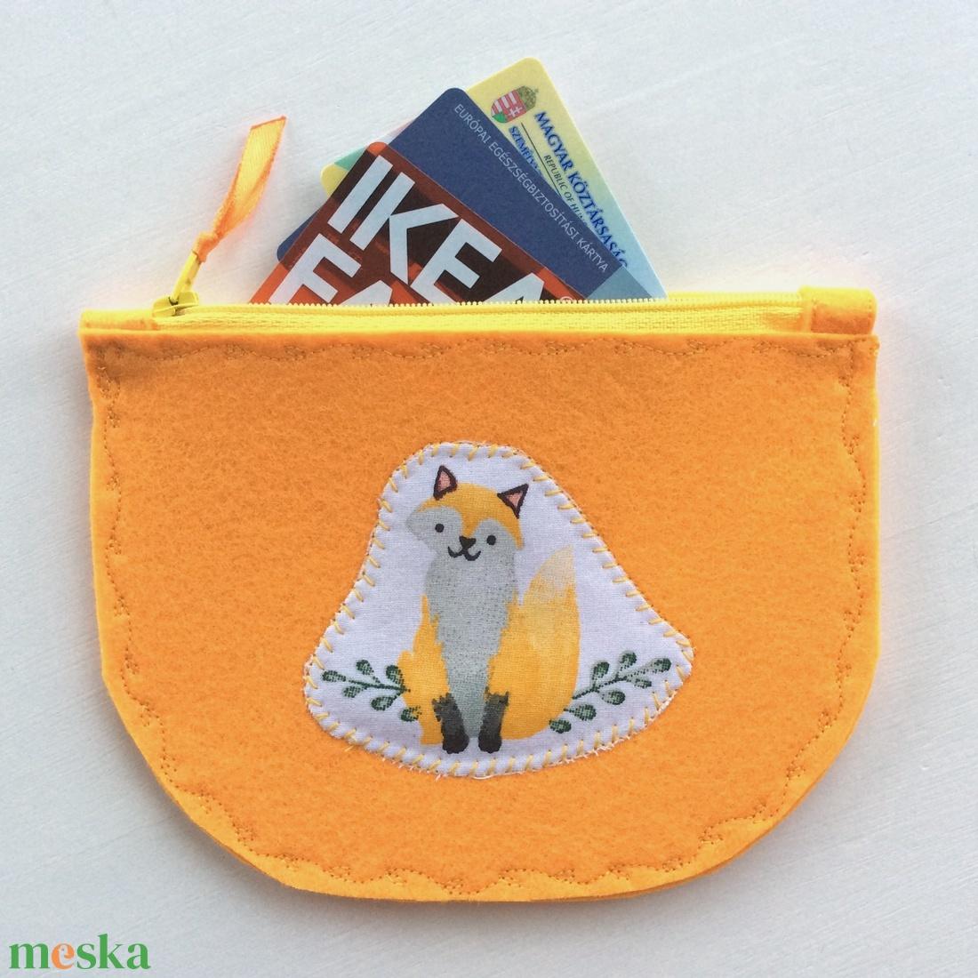 AKCIÓ - Mosolygó róka mintás narancssárga pénztárca szütyő - Artiroka design - táska & tok - pénztárca & más tok - kártyatartó & irattartó - Meska.hu
