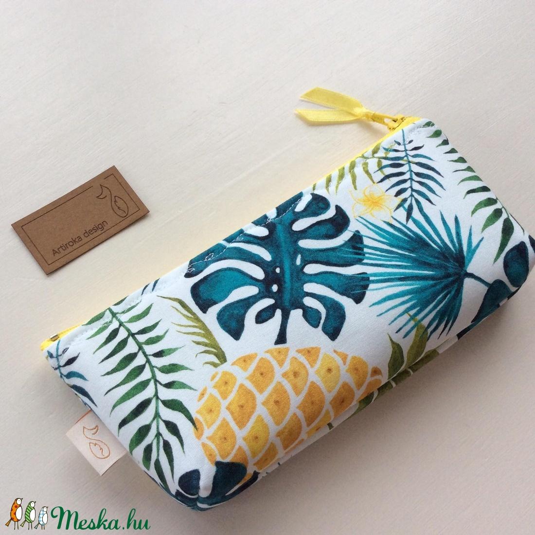 Ananászos, pálmafa levél mintás neszesszer, tolltartó vagy szemüvegtok - Artiroka design - táska & tok - neszesszer - Meska.hu