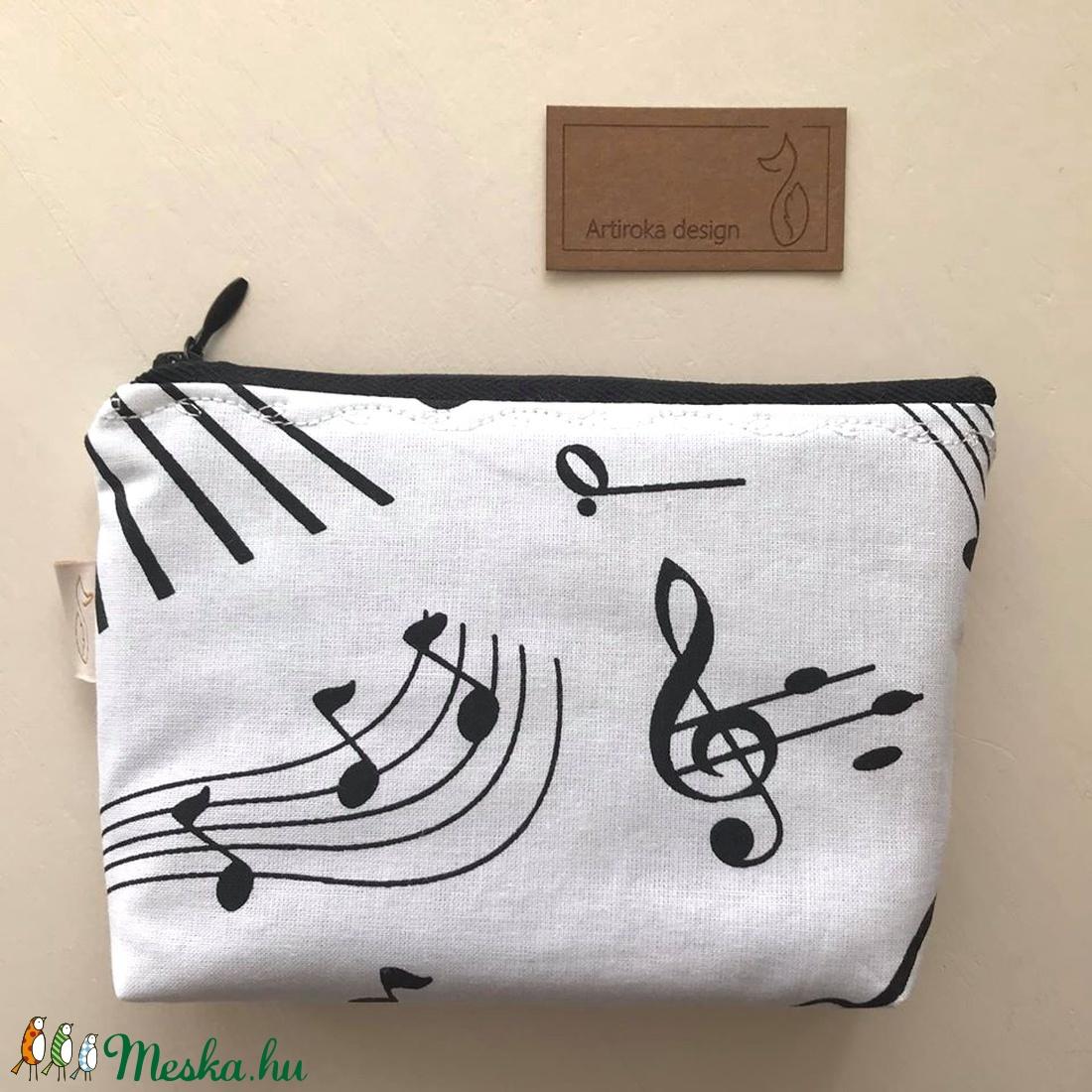 Zene, zongora, szakszofon mintás irattartó,  pénztárca - Húsvétra - táska & tok - pénztárca & más tok - pénztárca - Meska.hu