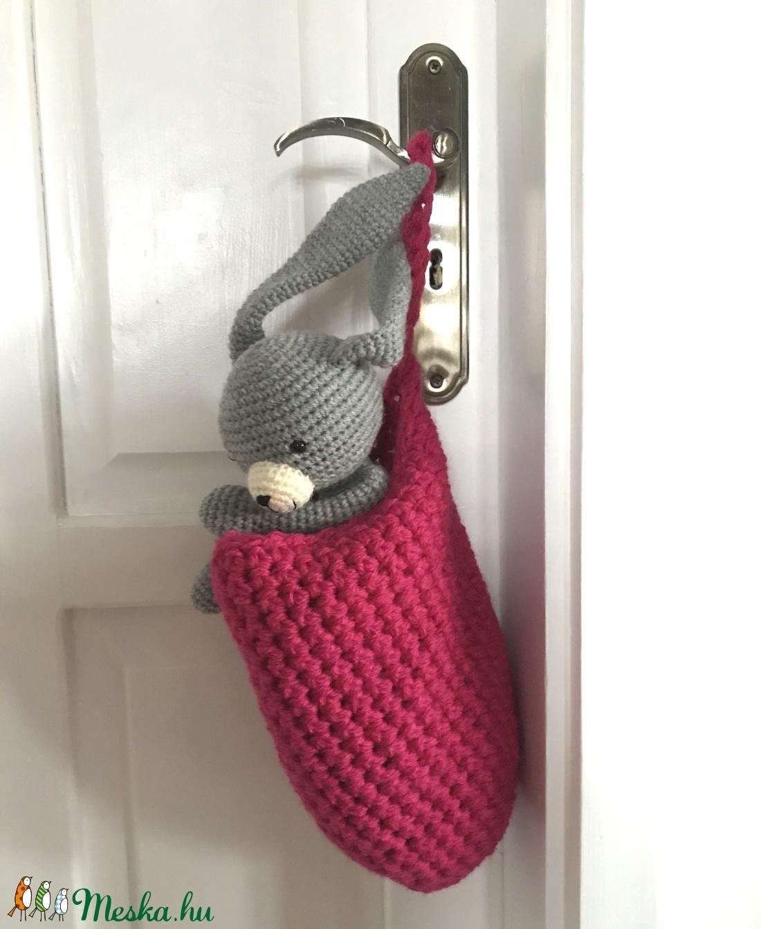 Egyedi pink színű, horgolt füles kosár, gyerekszobába, fürdőszobába - Artiroka design (Mesedoboz) - Meska.hu