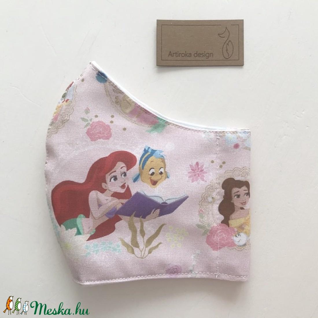 Arielle a kis hableány és Hercegnő  mintás prémium arcmaszk, szájmaszk, maszk - Artiroka design - maszk, arcmaszk - gyerek - Meska.hu