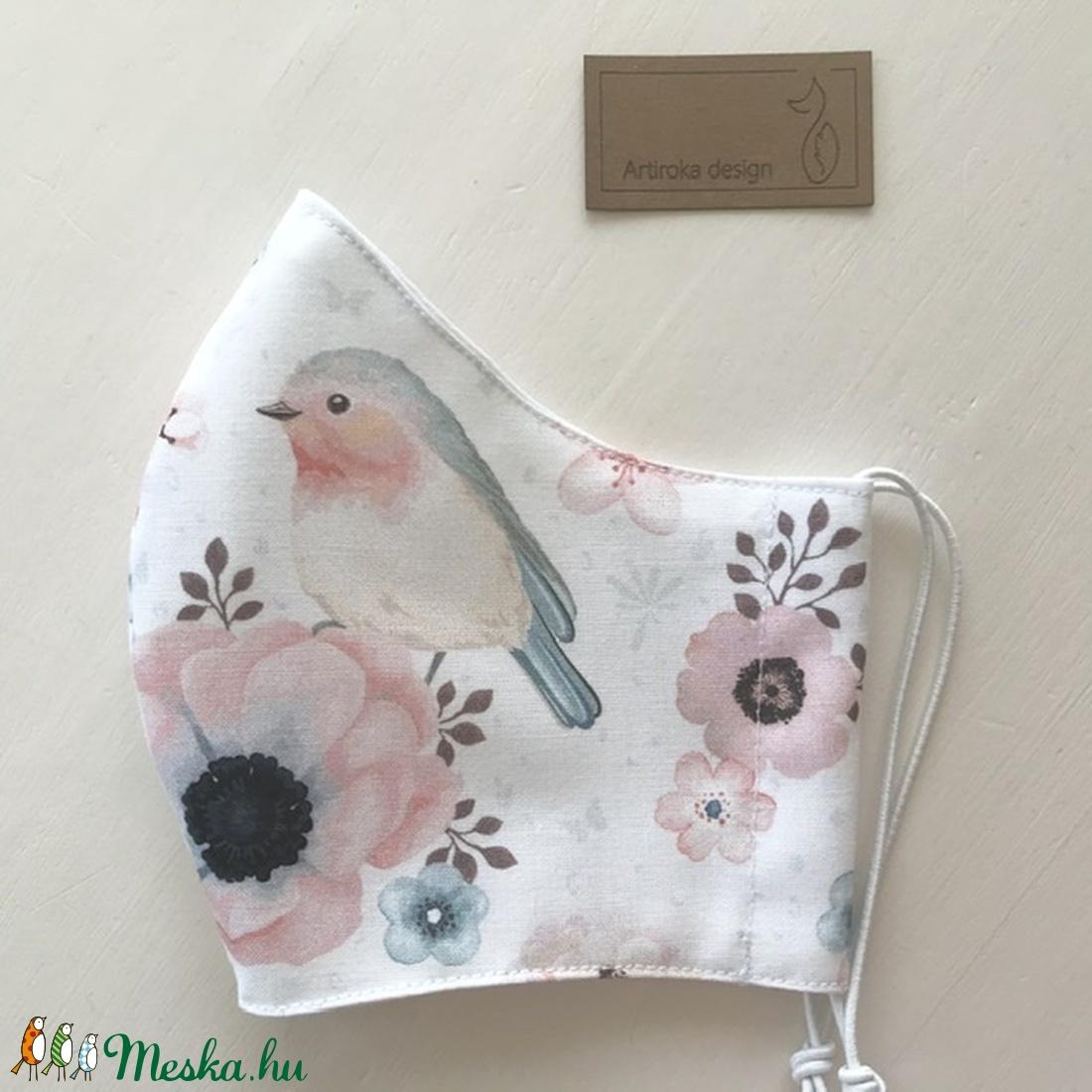 Pasztell madárkás prémium pamut textil arcmaszk, szájmaszk, maszk, gyerekmaszk - Artiroka design - maszk, arcmaszk - Meska.hu
