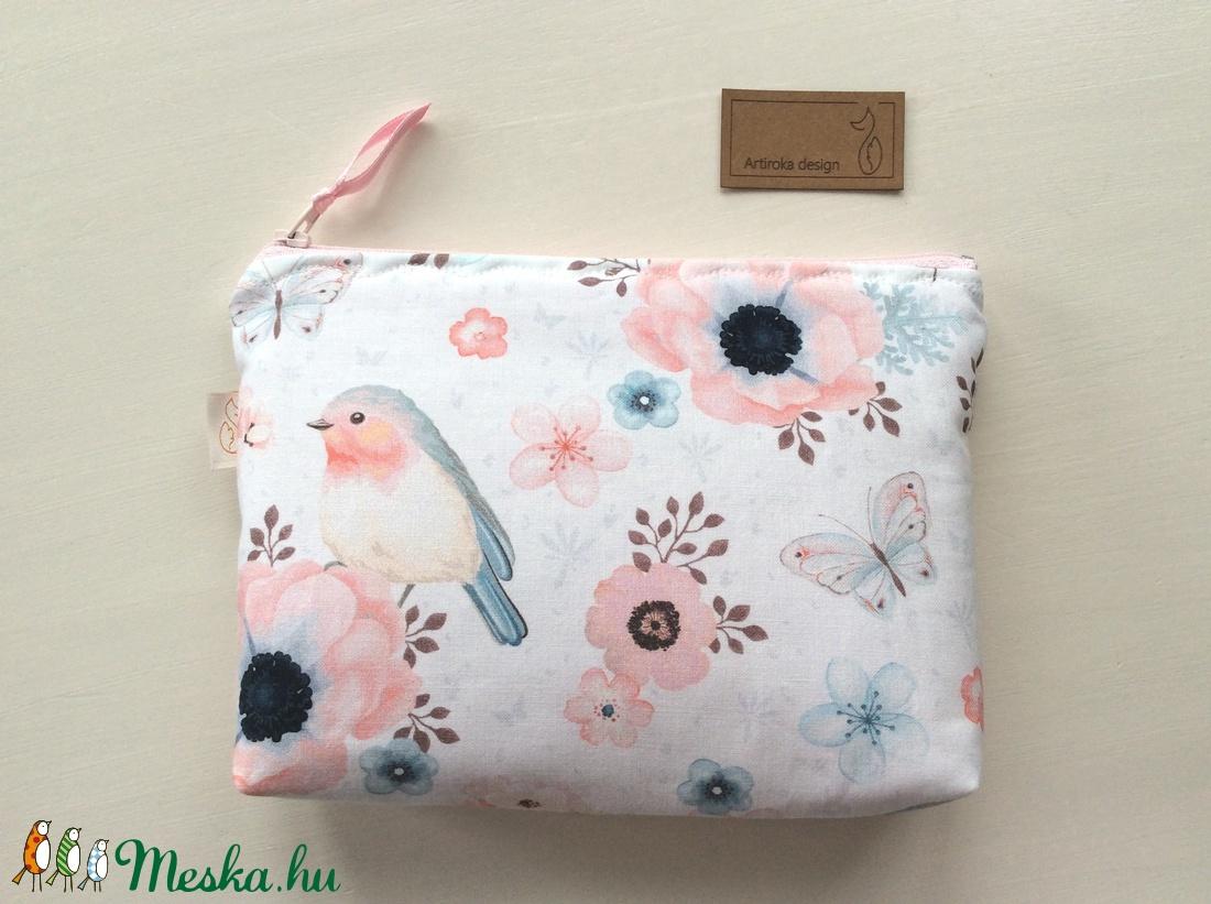 Cseresznyevirágos madárkás neszesszer, mobiltok, tolltartó, prémium pamut textilből  - Artiroka design (Mesedoboz) - Meska.hu