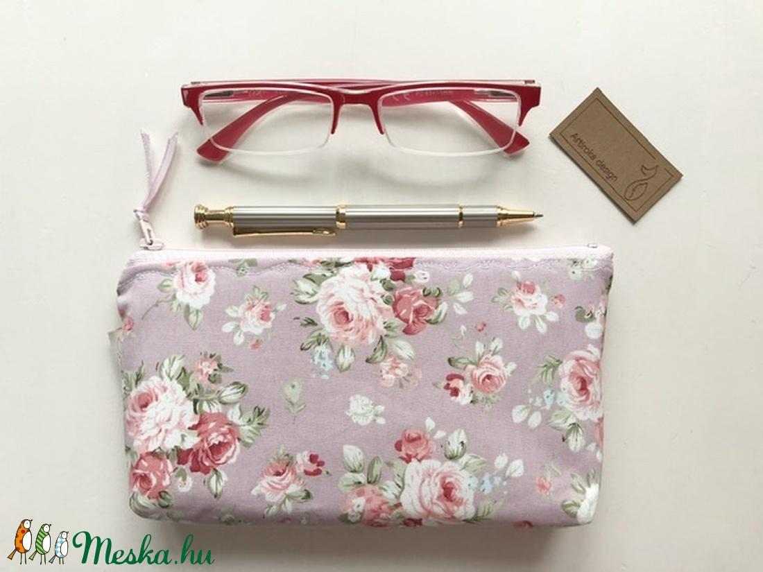 Púder színű angol rózsás prémium neszesszer, tolltartó, szemüvegtok - neszesszer - Artiroka design - táska & tok - neszesszer - Meska.hu