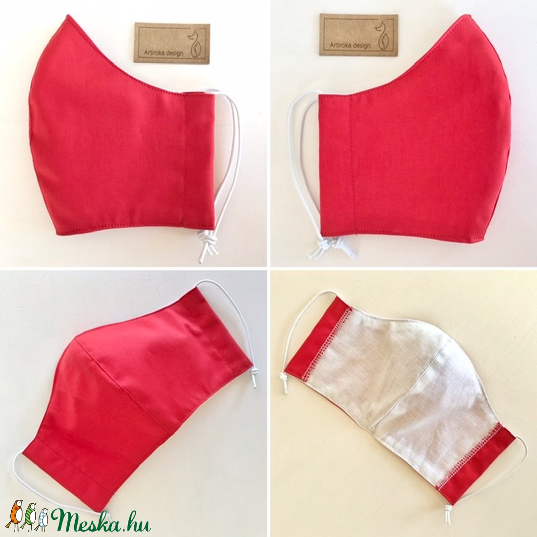 Egyszínű,  piros szájmaszk, maszk, gyerekmaszk - Artiroka design - ruha & divat - Meska.hu