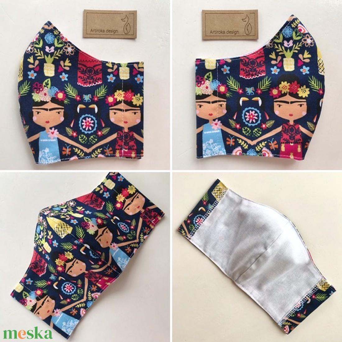 Frida -  prémium pamut textilből készült maszk, művészeteket kedvelőknek - Mesedoboz  - Artiroka design  - maszk, arcmaszk - Meska.hu