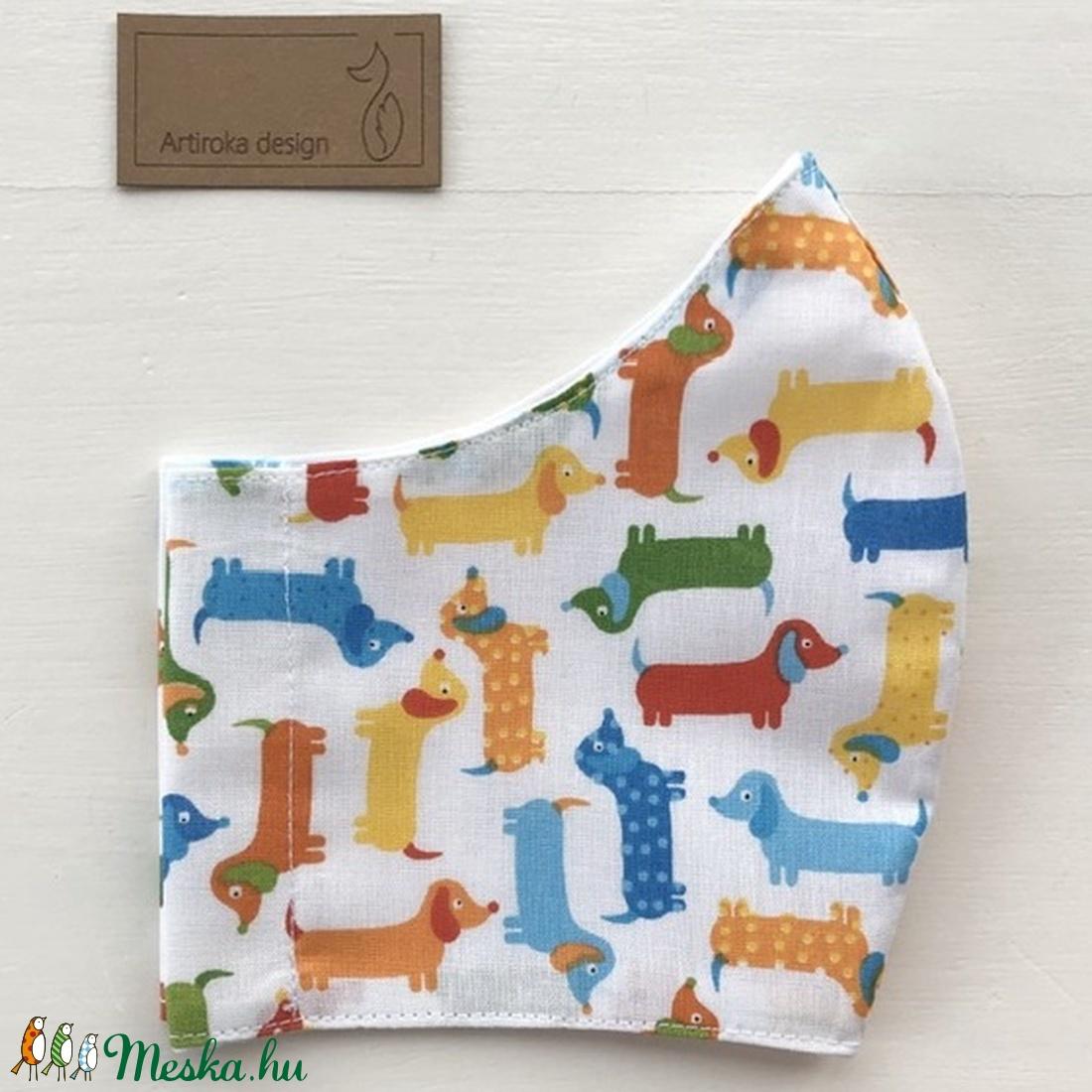 Tacskó kutya mintás arcmaszk, szájmaszk, maszk - Artiroka design - maszk, arcmaszk - gyerek - Meska.hu