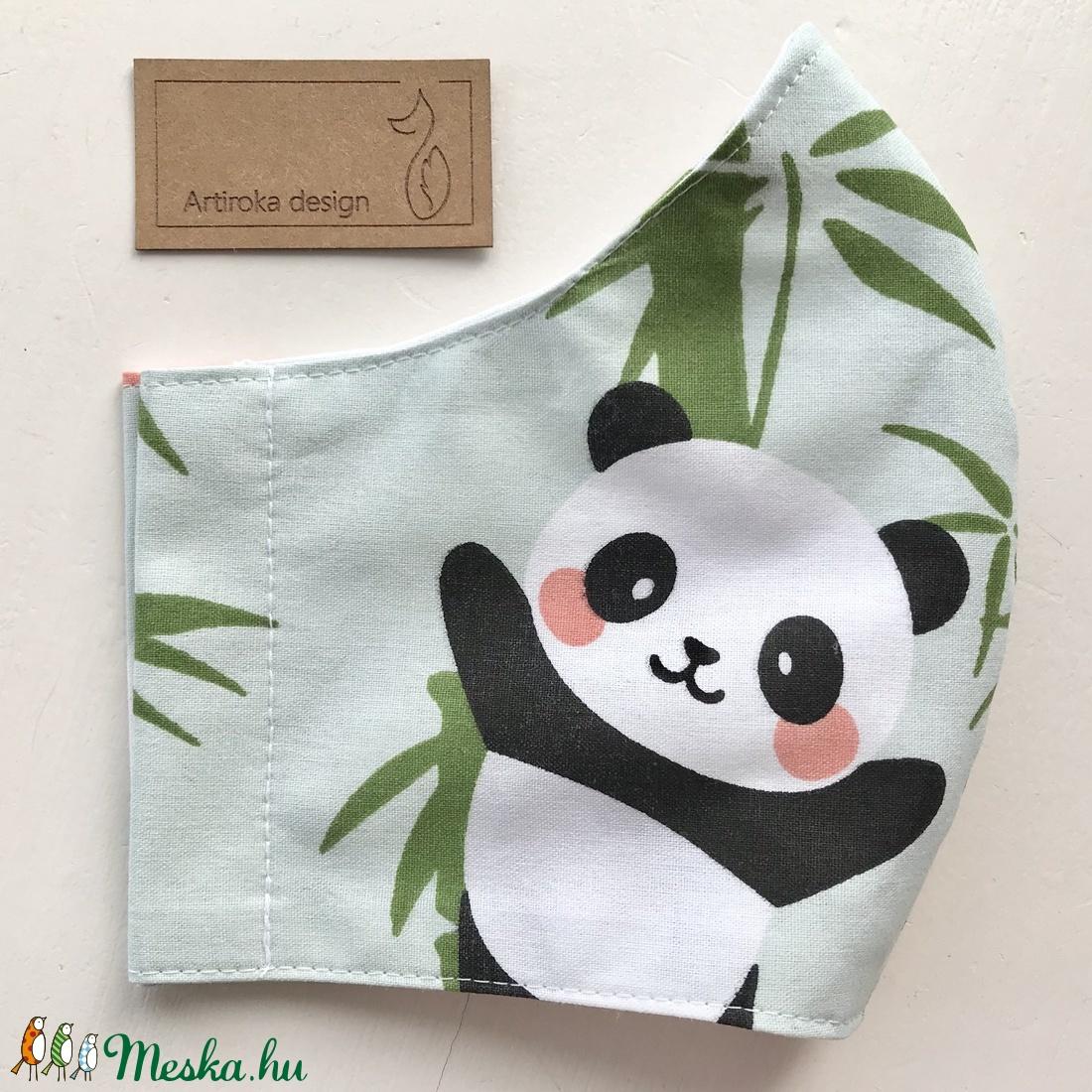 Panda mackó mintás pasztellzöld arcmaszk, szájmaszk, maszk, gyerekmaszk- Artiroka design - maszk, arcmaszk - női - Meska.hu