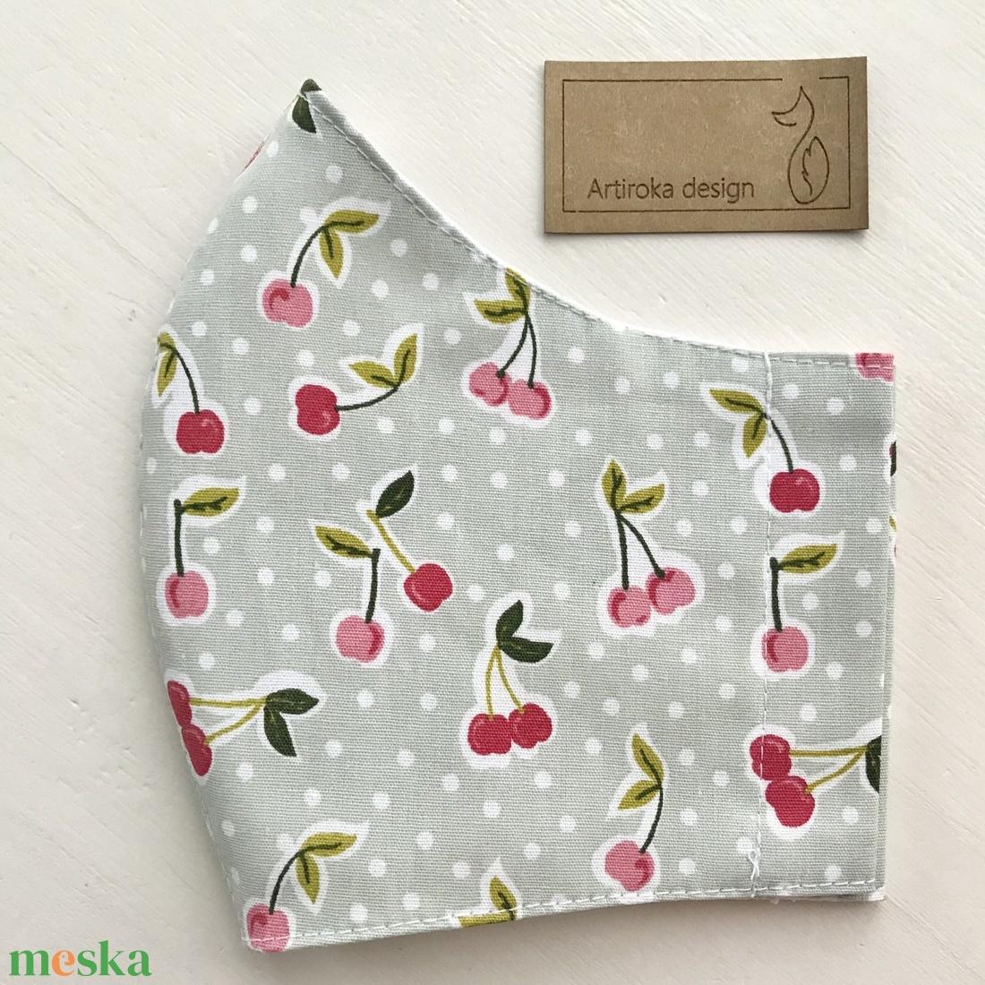 Cseresznye mintás pasztell zöld prémium arcmaszk, szájmaszk, maszk - Artiroka design - ruha & divat - Meska.hu