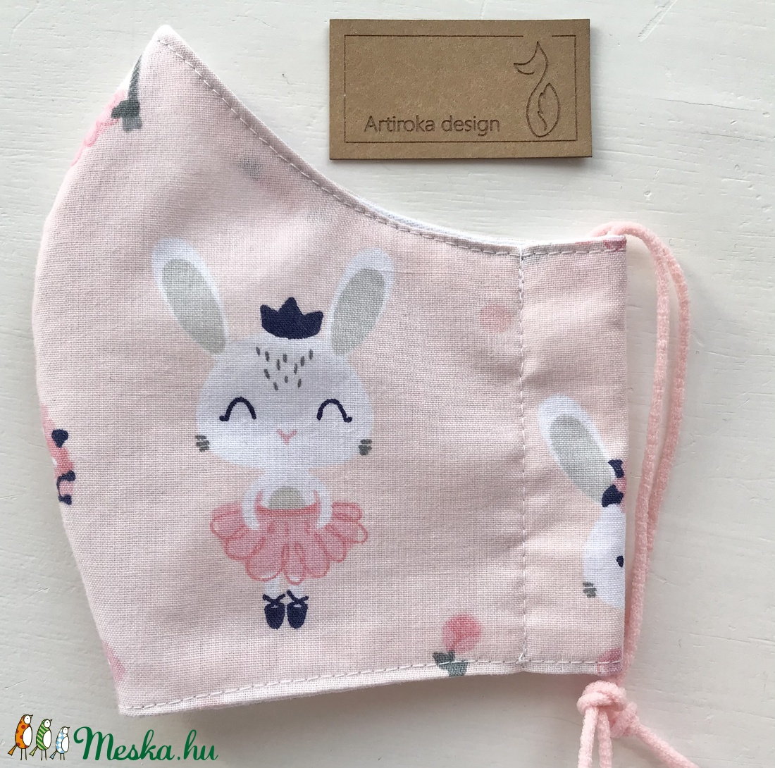 Nyuszi mintás pasztell rózsaszín arcmaszk, szájmaszk, maszk - Artiroka design - maszk, arcmaszk - gyerek - Meska.hu