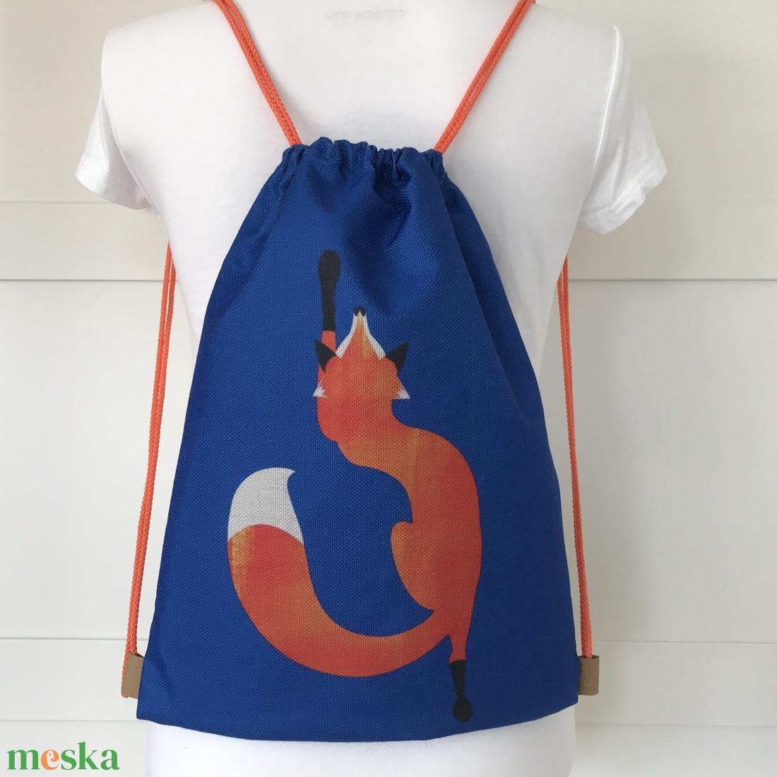 Királykék színű, egyedi róka mintás gymbag hátizsák - Artiroka design - táska & tok - hátizsák - Meska.hu