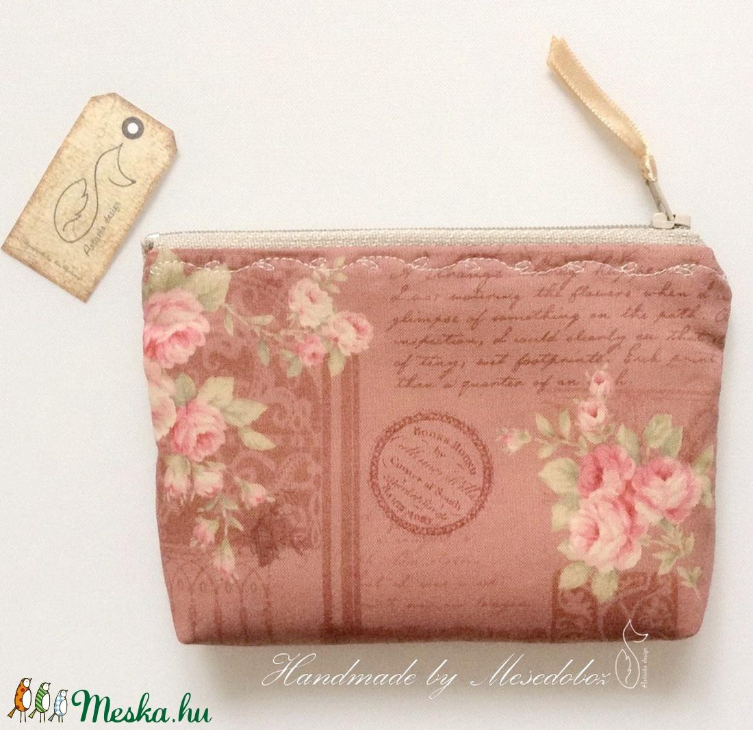 Rózsás, irattartó pénztárca régies vintage prémium pamut textilből- Artiroka design - Meska.hu