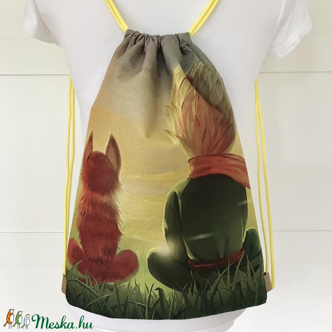 A kis herceg és a róka mintás egyedi gymbag hátizsák - tornazsák edzéshez, úszáshoz - Artiroka design - táska & tok - hátizsák - Meska.hu