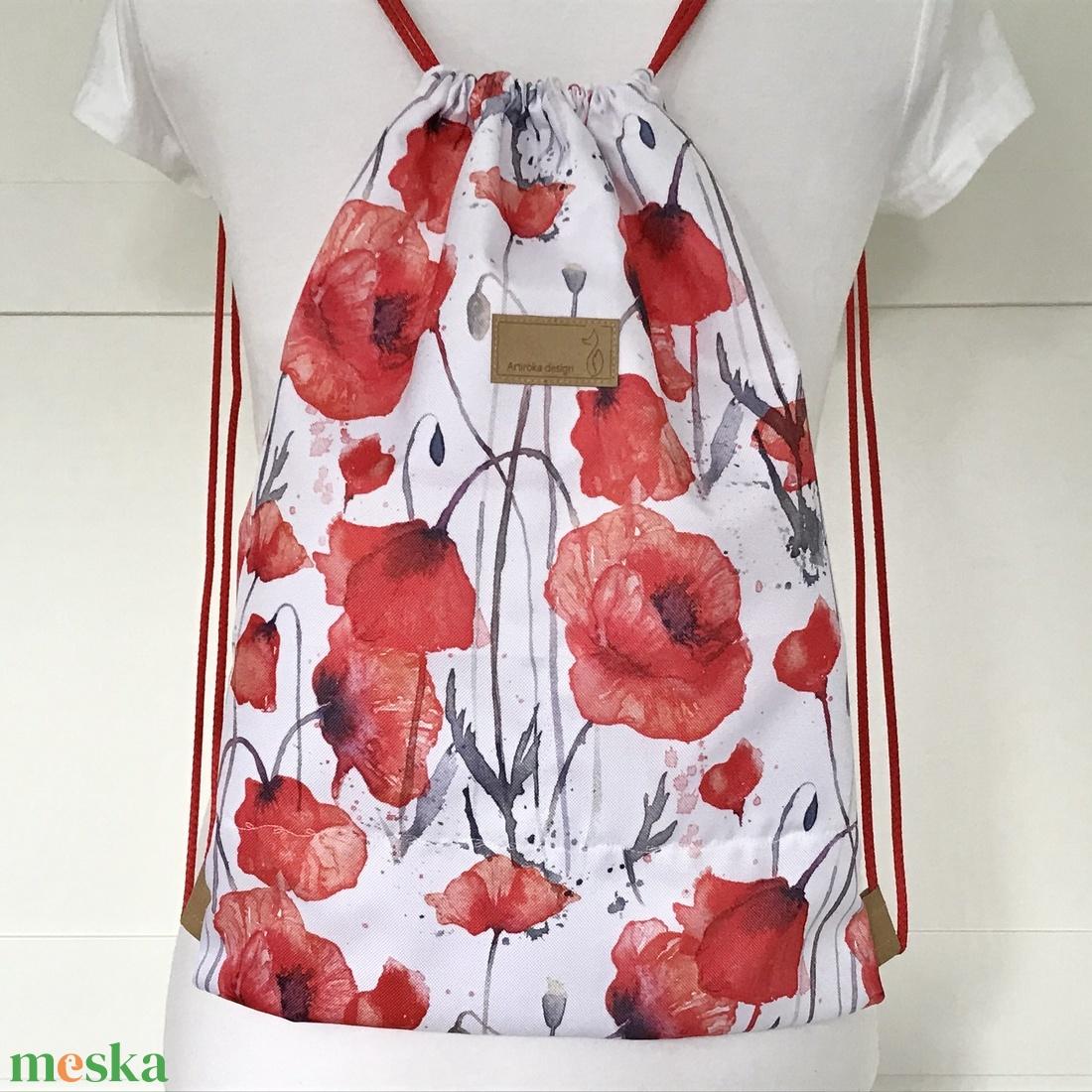 Pipacs mintás, piros - fehér  VÍZLEPERGETŐS gymbag hátizsák - tornazsák edzéshez, úszáshoz - Artiroka design - táska & tok - hátizsák - Meska.hu