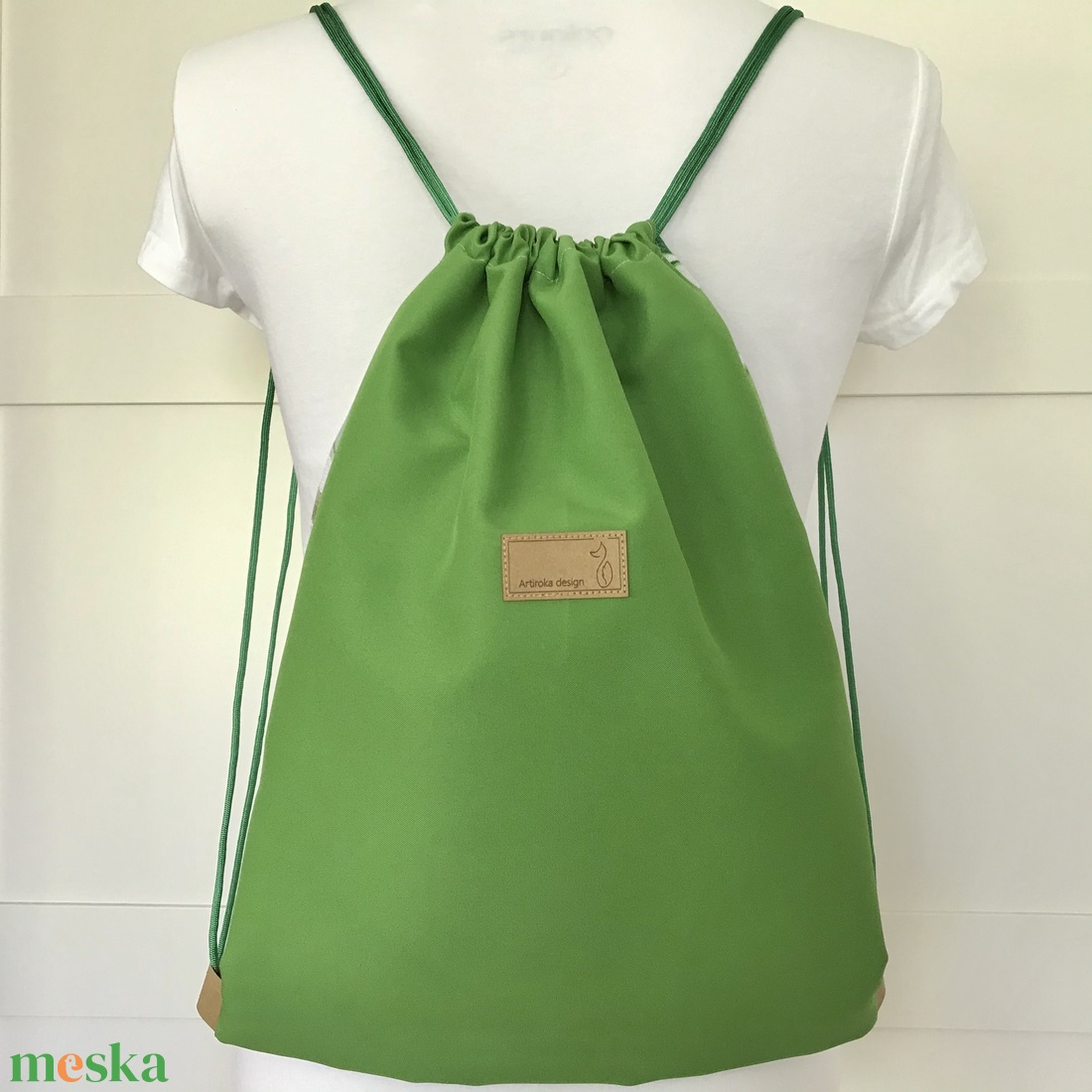 Pálmafalevél mintás, zöld - fehér  gymbag hátizsák - tornazsák edzéshez, úszáshoz - Artiroka design - táska & tok - hátizsák - Meska.hu