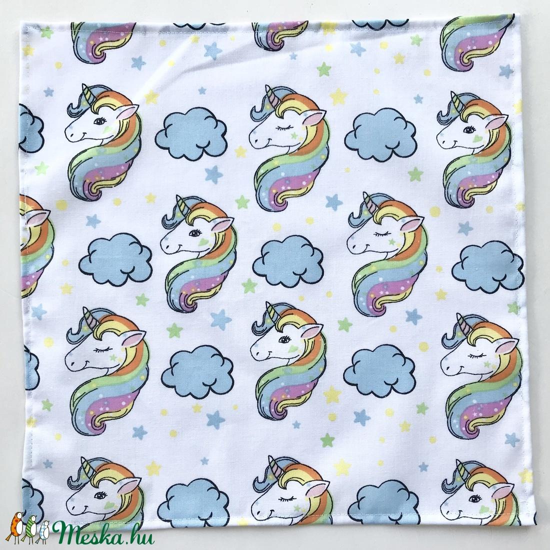 Elefánt sárga esernyővel és színes Unikornis mintás zsebkendő vagy szalvéta szett - NoWaste - szépségápolás - egészségmegőrzés - Meska.hu