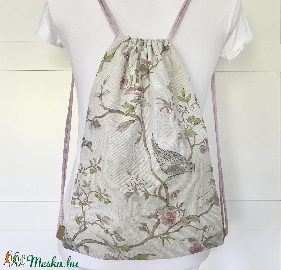Csipkebogyó virágos, madárkás gymbag hátizsák - Titkos kert - Artiroka design - táska & tok - hátizsák - hátizsák - Meska.hu