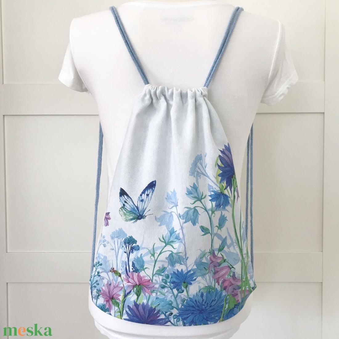 Pillangók tánca a titkos kertben - gymbag hátizsák, tornazsák - Artiroka design - ovi- és sulikezdés - tornazsák, gymbag - Meska.hu