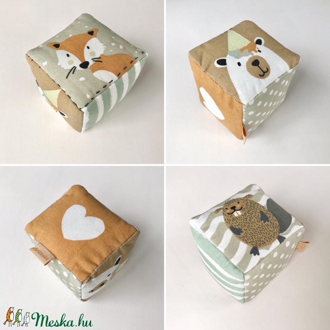 Baba kocka  - róka, maci, hód mintás készségfejlesztő babajáték - Artiroka design - játék & gyerek - 3 éves kor alattiaknak - babakocka - Meska.hu