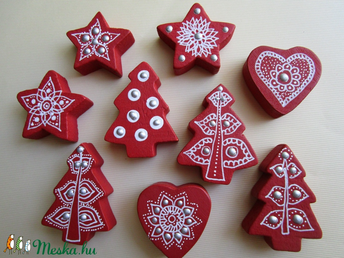 Karácsonyi csomag - bordó fenyőfa, szivecske, csillag dísz  (meszianiko) - Meska.hu