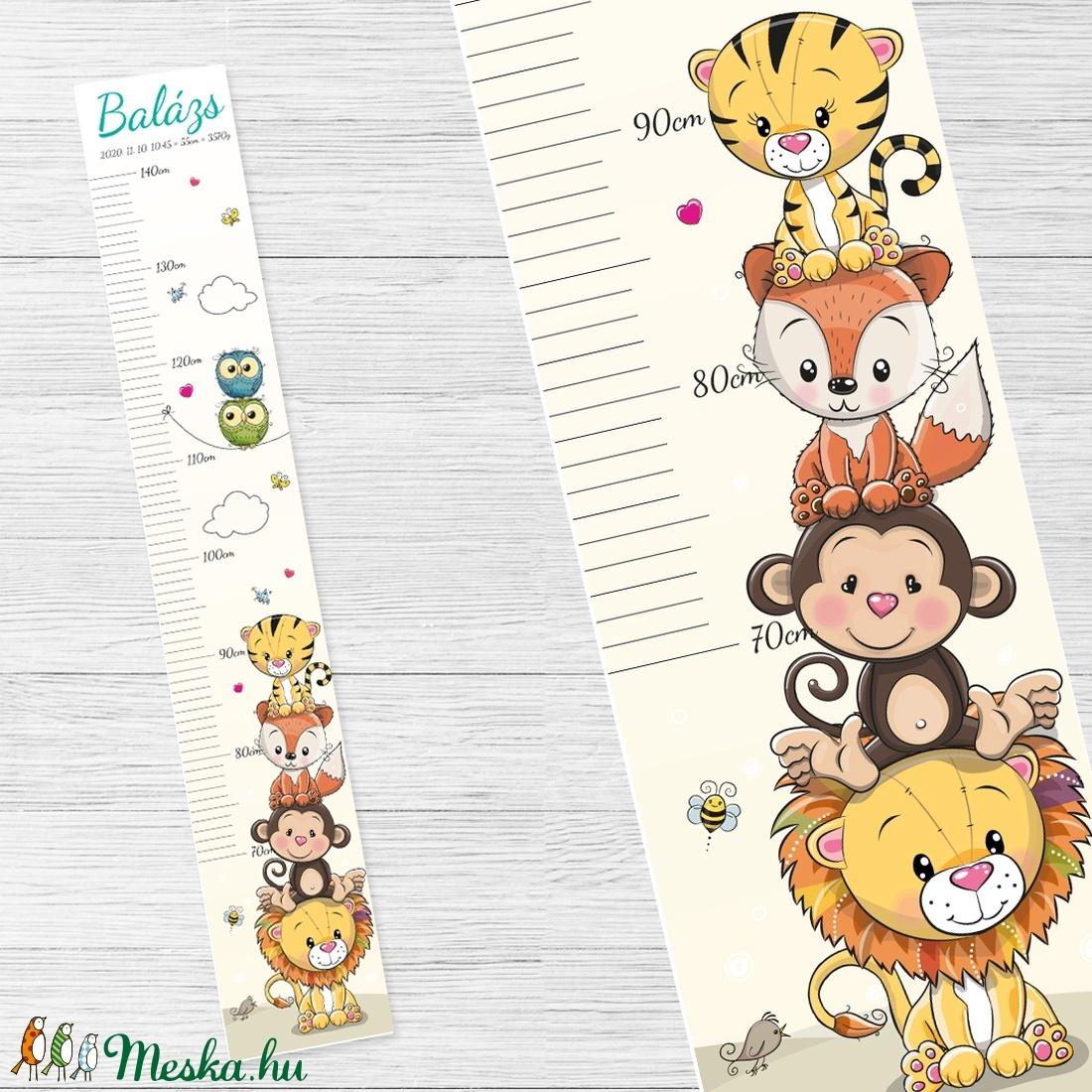 Oroszlán, majom, róka, tigris - egyedi magasságmérő gyerekeknek, akár névre szólóan is, születési adatokkal (mimeecreation) - Meska.hu