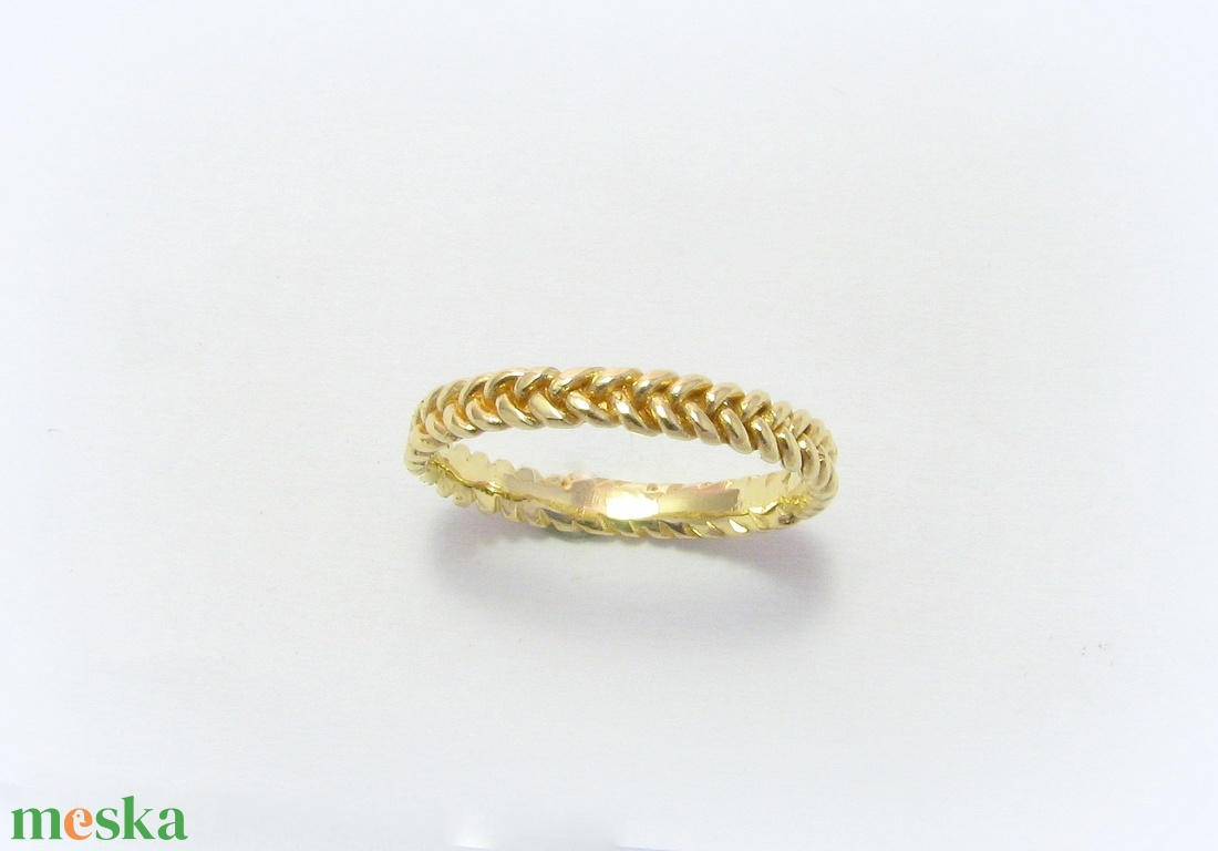 Sárga arany fonott gyűrű - ékszer - gyűrű - vékony gyűrű - Meska.hu