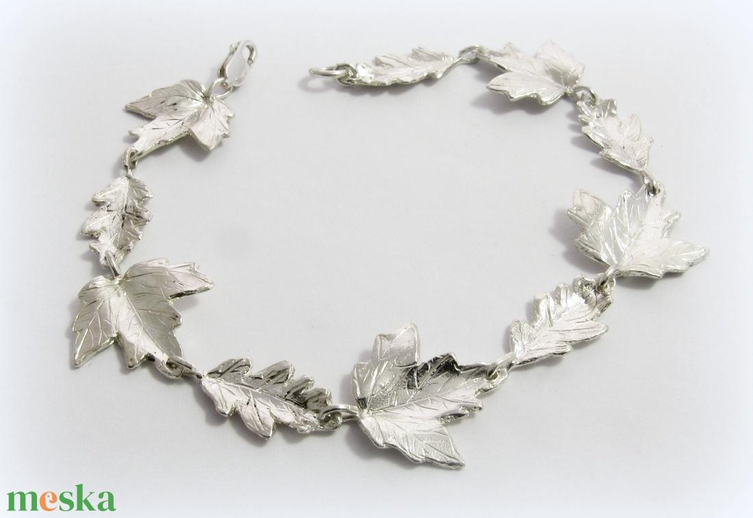Ezüst levél, falevél karkötő (minicsiga) - Meska.hu