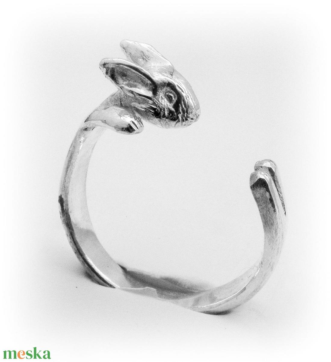 Ezüst nyuszi gyűrű (minicsiga) - Meska.hu