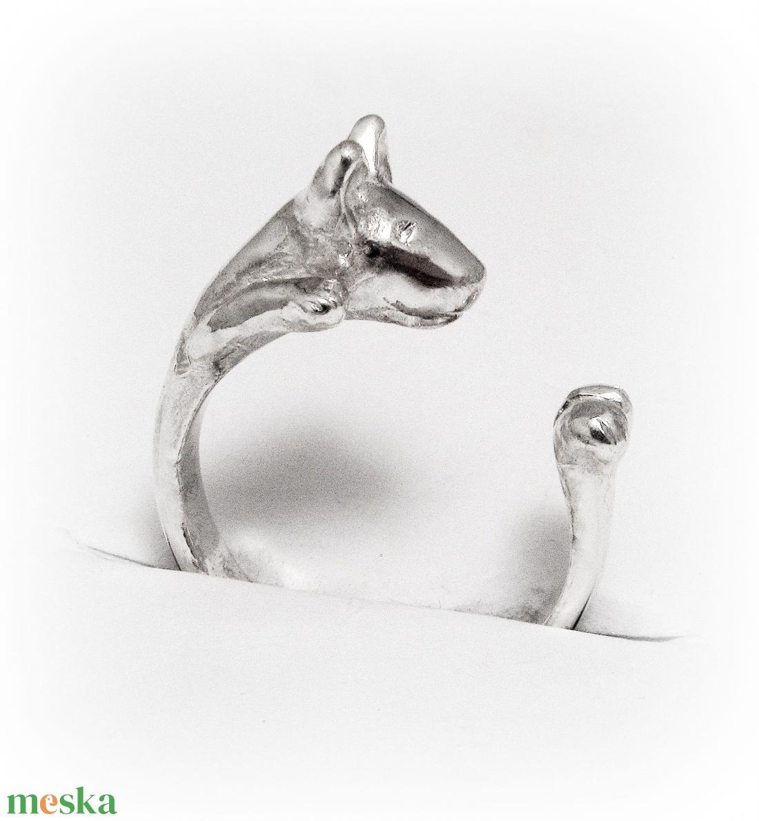 Ezüst bullterrier gyűrű (minicsiga) - Meska.hu