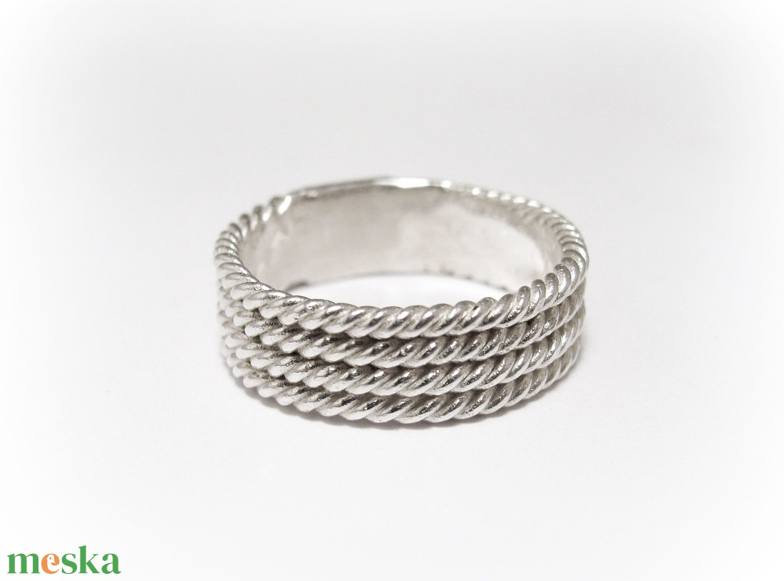 Ezüst fonatos/hajókötél gyűrű (minicsiga) - Meska.hu