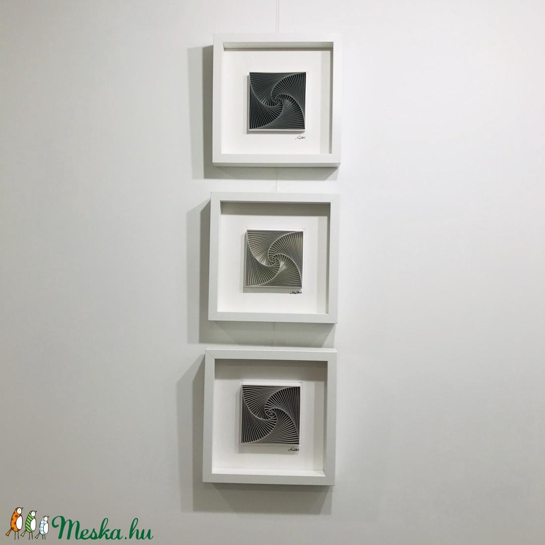 Kő, homok, kincs -3db-os falikép szett,  egyedi modern, 3D spirálgeometrikus mintával - otthon & lakás - dekoráció - kép & falikép - Meska.hu