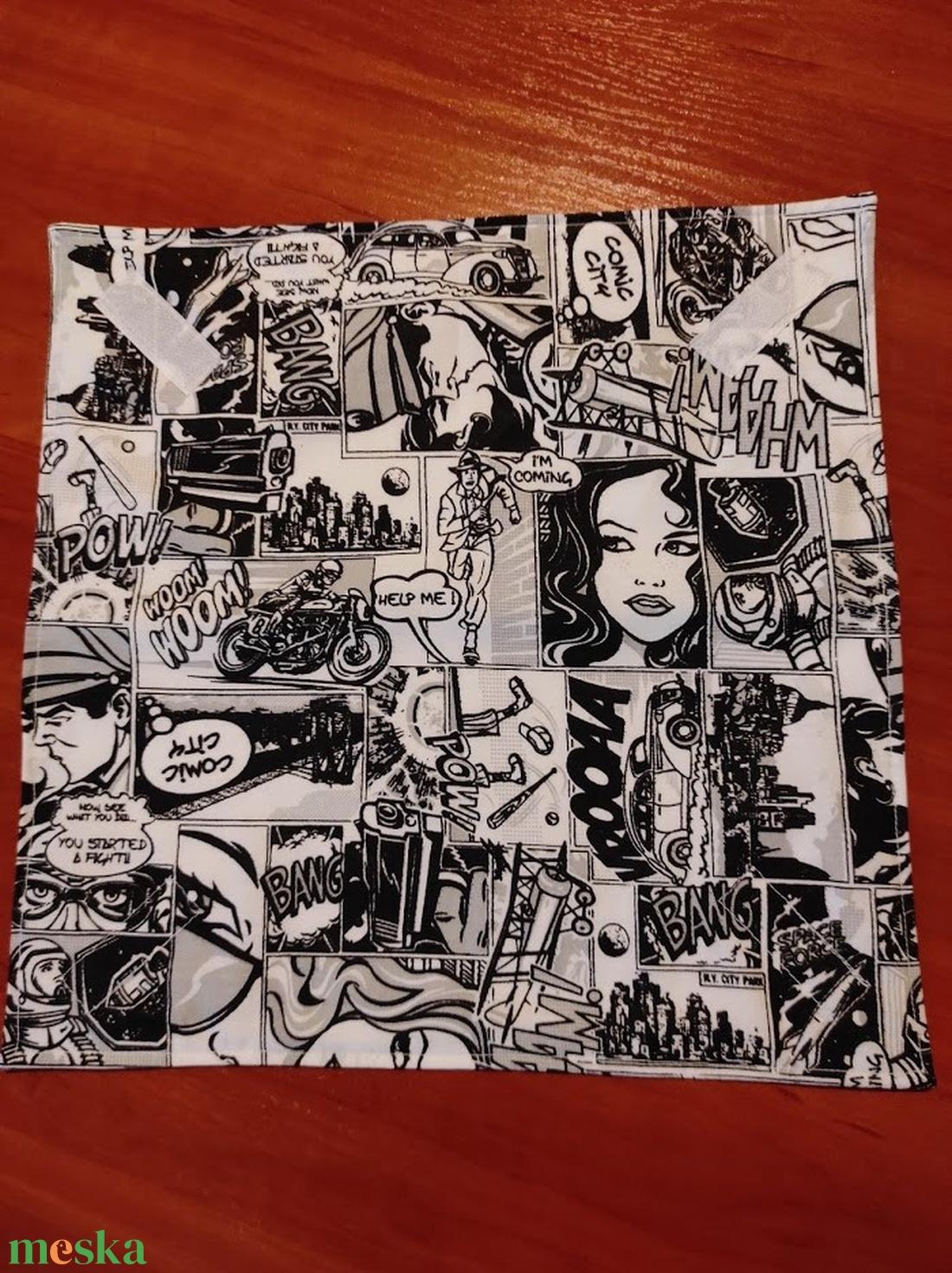 Képregény mintás  újraszalvéta,textilszalvéta tízórai,uzsonna csomagolására, - otthon & lakás - konyhafelszerelés - szalvéta - Meska.hu