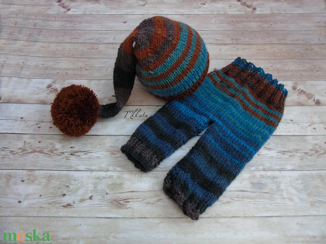 Újszülött  baba sapka+ nadrág szett  fotózásra 0-2 hó   - ruha & divat - babaruha & gyerekruha - babafotózási ruha és kellék - Meska.hu