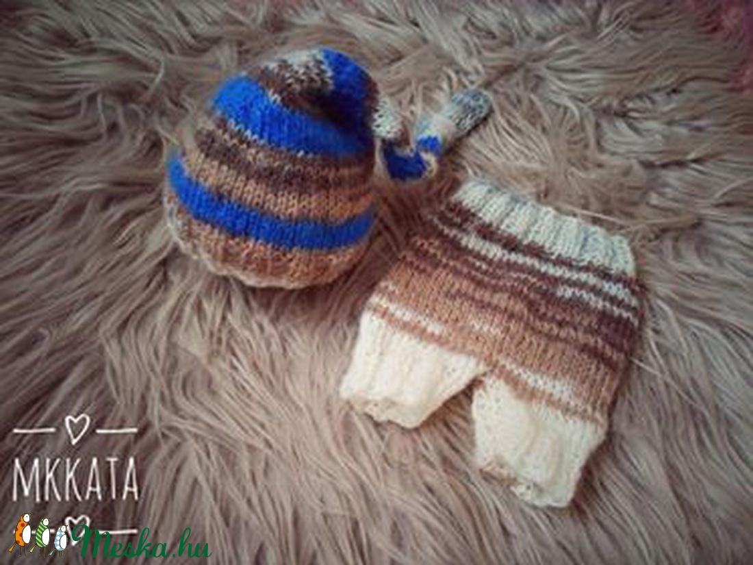 Kötött baba sapka + nadrág szett 0-2 hónapos méret  (Mkkata) - Meska.hu