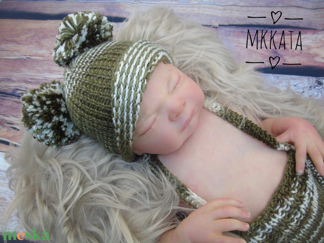 Kötött újszülött baba sapka+ nadrág  0-2 hónapos méret  - ruha & divat - babaruha & gyerekruha - nadrág - Meska.hu