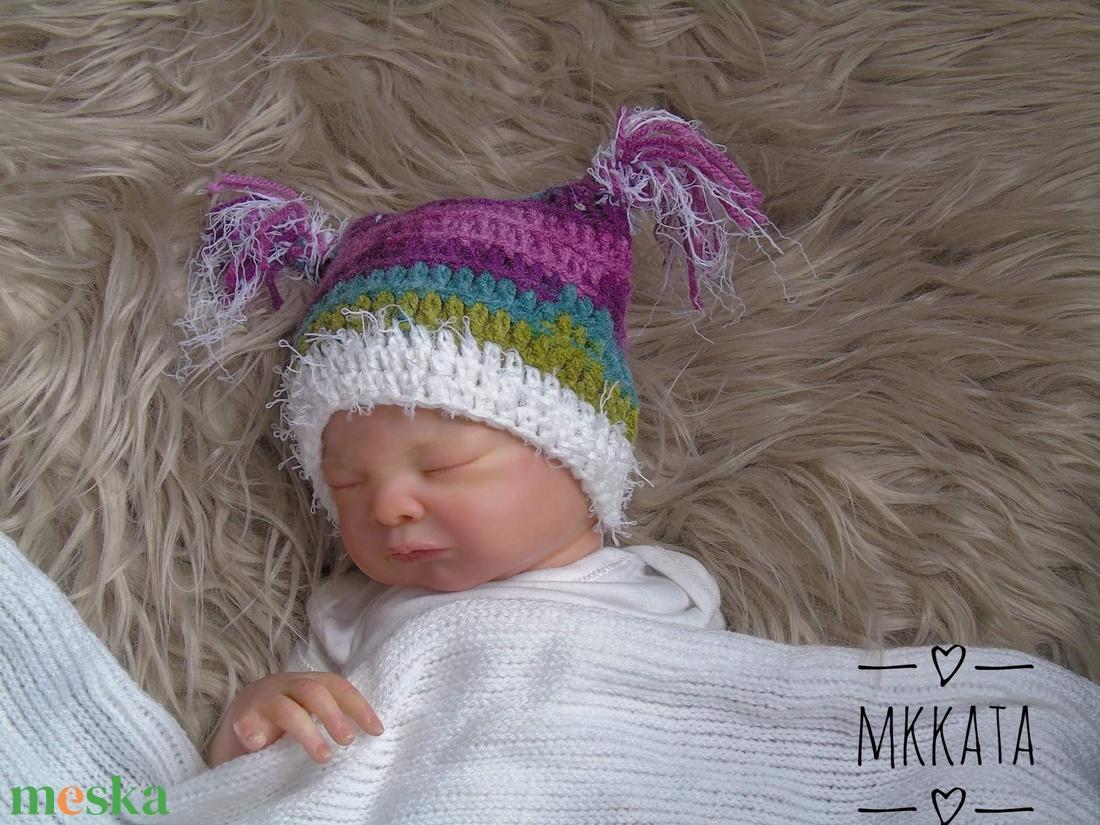Horgolt újszülött ,  baba sapka 0-2 hó - ruha & divat - babaruha & gyerekruha - babasapka - Meska.hu