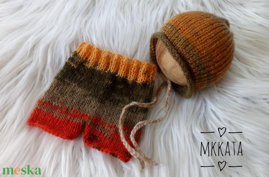 Kötött baba sapka+ nadrág szett  0-2 hónapos méret  - ruha & divat - babaruha & gyerekruha - babasapka - Meska.hu