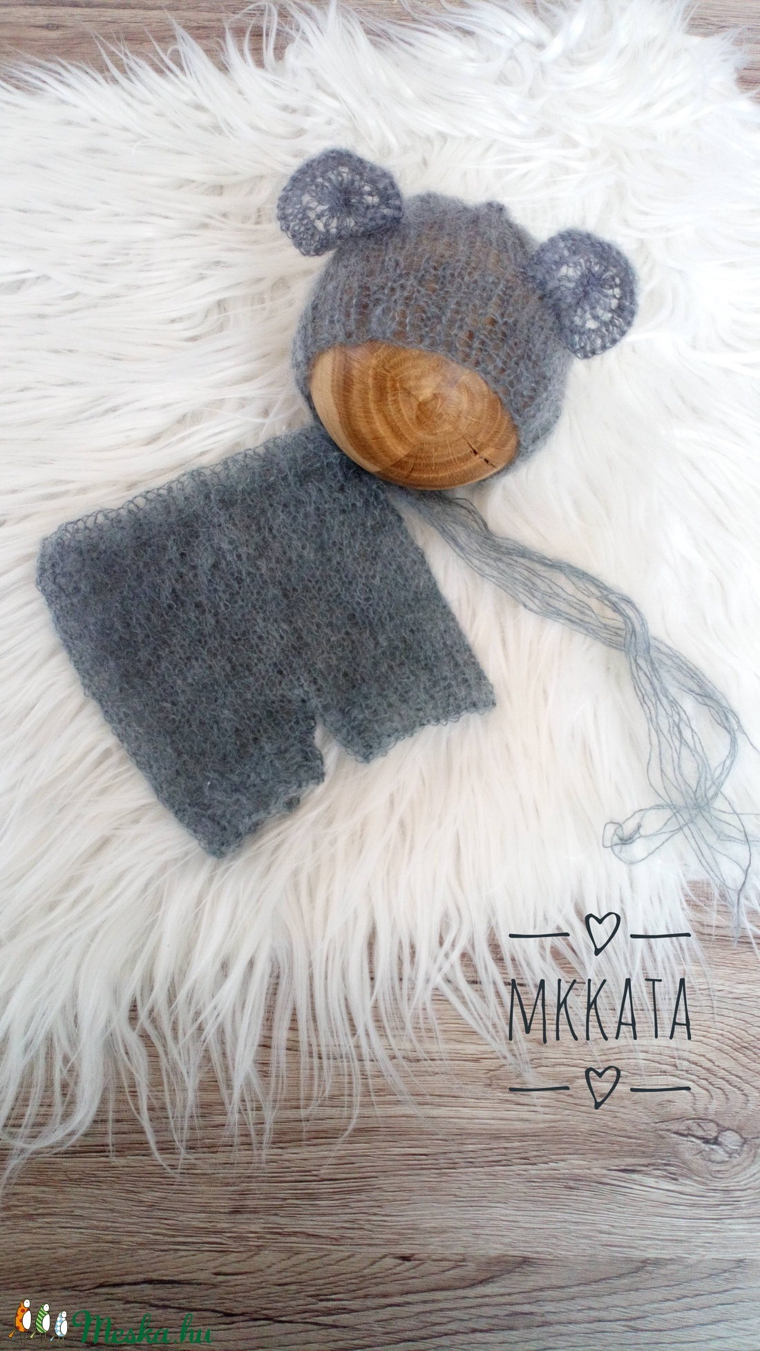 Kötött baba sapka+ nadrág szett  50-56 - os  - ruha & divat - babaruha & gyerekruha - nadrág - Meska.hu