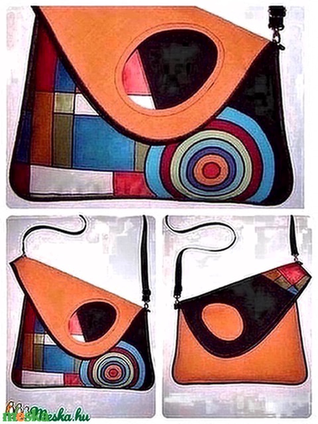 Egyedi aszimmetrikus nagy Táska színes Rendelhető - táska & tok - kézitáska & válltáska - vállon átvethető táska - Meska.hu