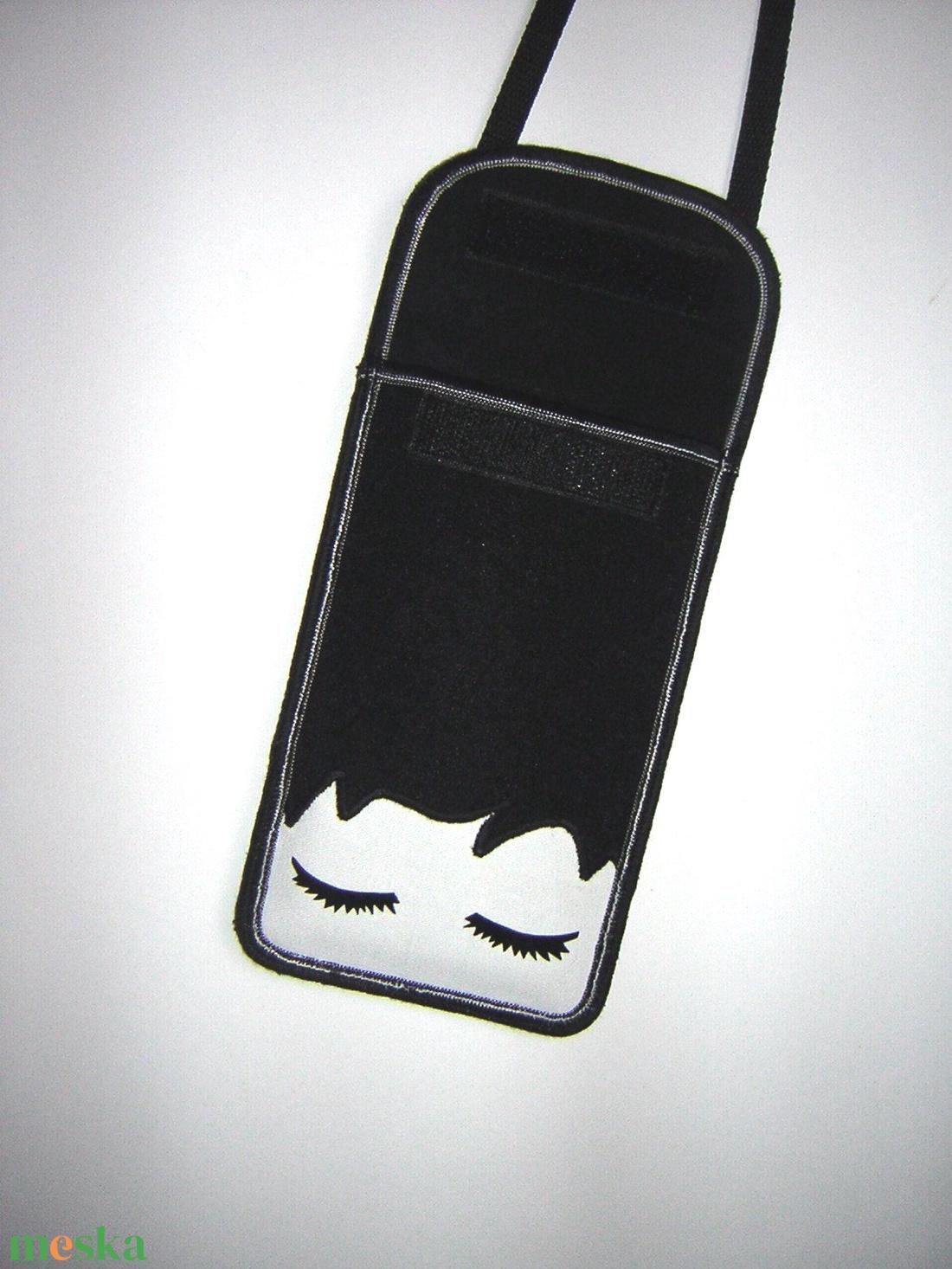 Mobiltok állítható pánttal  XL telefon tartó Nyakba akasztható kistáska oldaltáska Szempillák - táska & tok - pénztárca & más tok - telefontok - Meska.hu