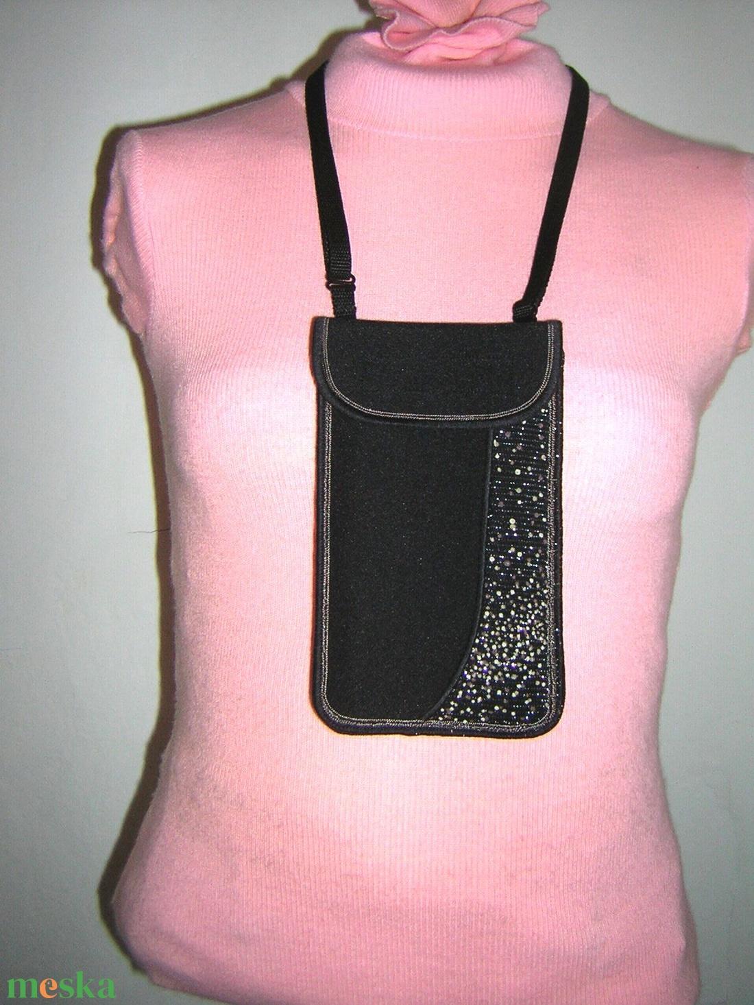 Elegáns Mobil Tok állítható pánttal  XL telefon tartó  oldaltáska iPhone kistáska fekete-ezüst-bézs - táska & tok - pénztárca & más tok - telefontok - Meska.hu