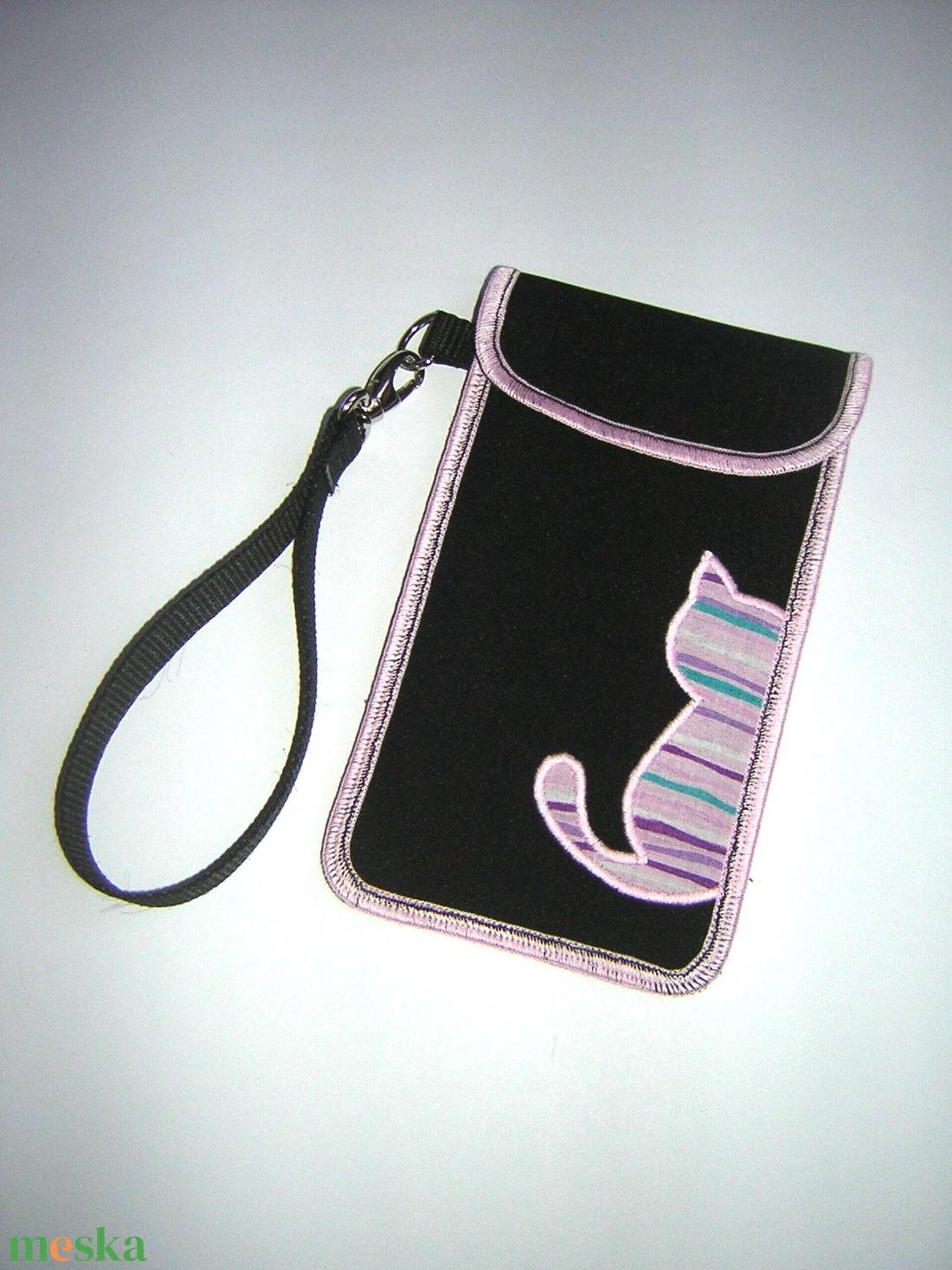 Rendelhető mobiltok kis csuklótáska plus-os méretű okostelefonhoz XL-es telefon tartó cicás tok - táska & tok - pénztárca & más tok - telefontok - Meska.hu