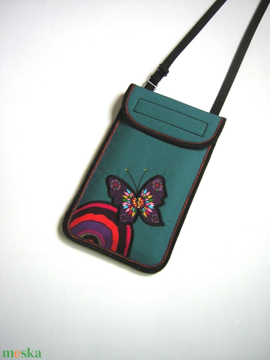 Nyakbaakasztható mobiltok állítható pánttal XL telefon tartó türkiz lepkés - táska & tok - pénztárca & más tok - telefontok - Meska.hu