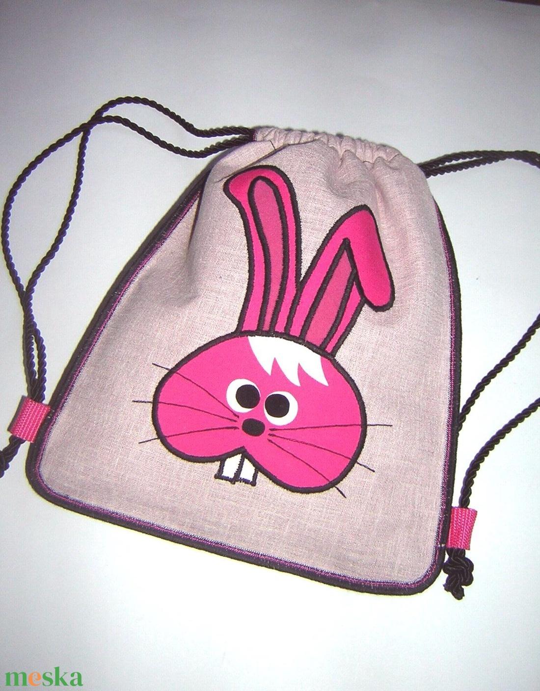 Nyuszis kislány háti táska Gyerek hátizsák gymbag ovis táska rózsaszín pink nyuszival - játék & gyerek - Meska.hu